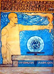 Op naam gestelde dankbetuiging van de ANDB voor steun tijdens een vakbondsactie in 1904