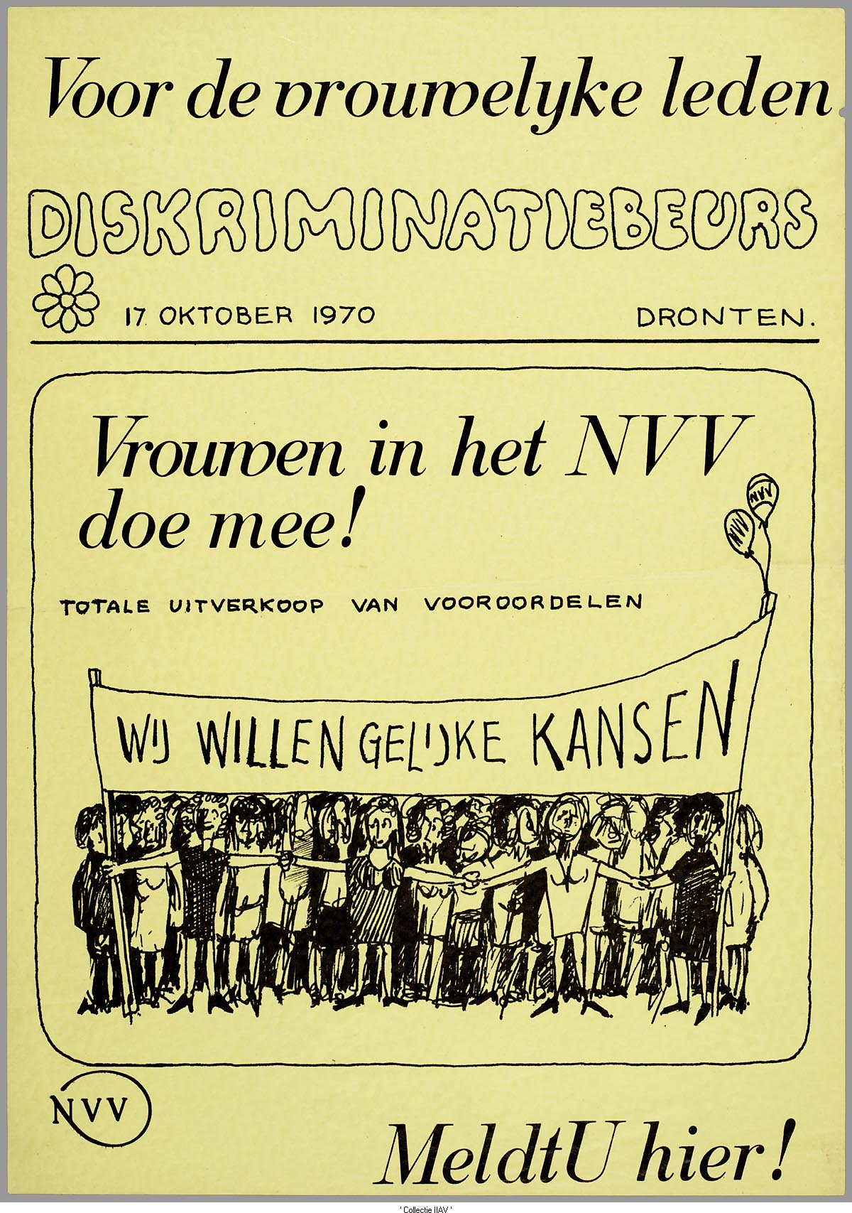 Affiche van de Diskriminatiebeurs in Dronten in 1970