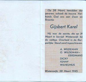 Geboortekaartje Gijs Wildeman