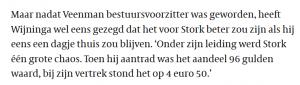 Henk Wijninga over Aad Veenman (Stork)