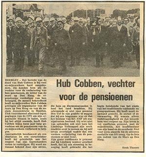 Herdenkingsartikel naar aanleiding van het overlijden van de leider van de pensioenactie, Hub Cobben, in 1976