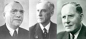 De grondleggers van de Raad van Vakcentralen, vlnr Evert Kupers (NVV), AC de Bruijn (RKWV) en Toon Stapelkamp (CNV)